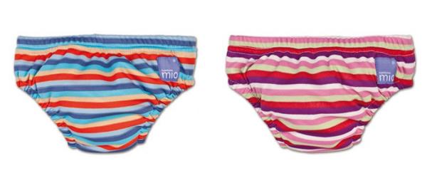 Bañador pañal de rayas en azul y en rosa, de la marca Bambino Mio