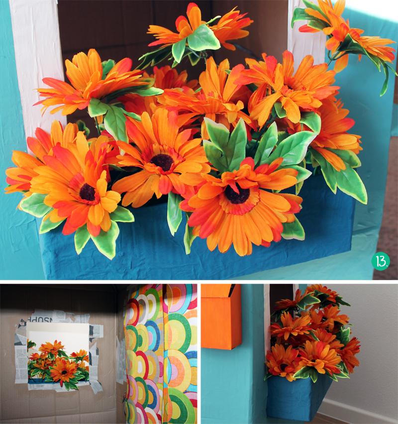 Cómo hacer una casita de cartón, macetero con flores de tela