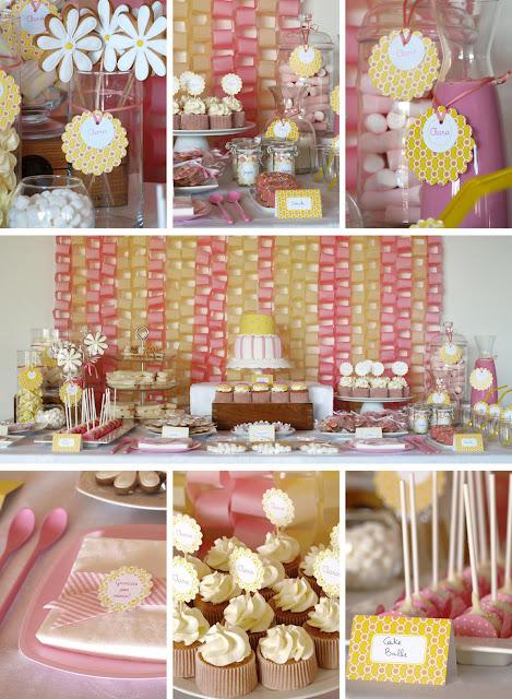 Clara cumple un año. Cumpleaños temático, rosa y amarillo.