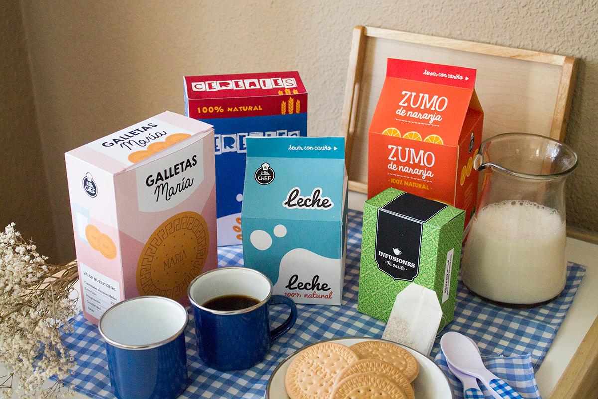 Imprimible comida de juguete.Set de desayuno, galletas, zumo, leche, cereales y té