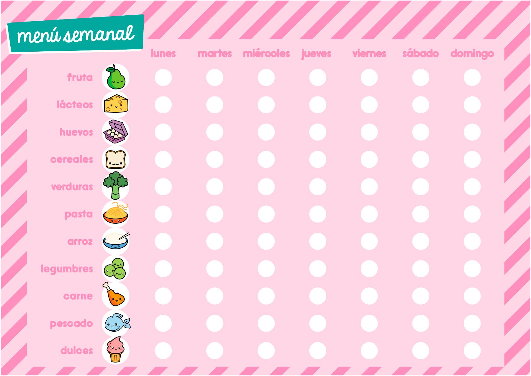 Menú semanal para apuntar las comidas, por Ahora soy mamá. Kawaii rosa