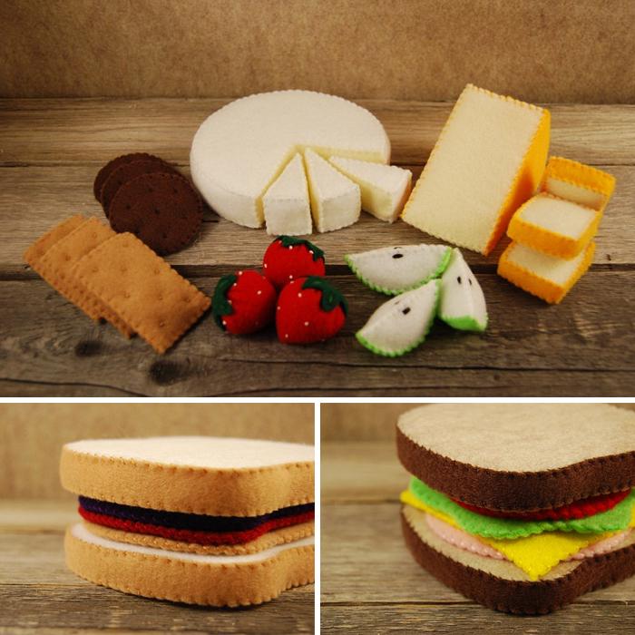 Comida de fieltro. Sandwiches, de tate's tastees (queso, fresas, pera, galletas))