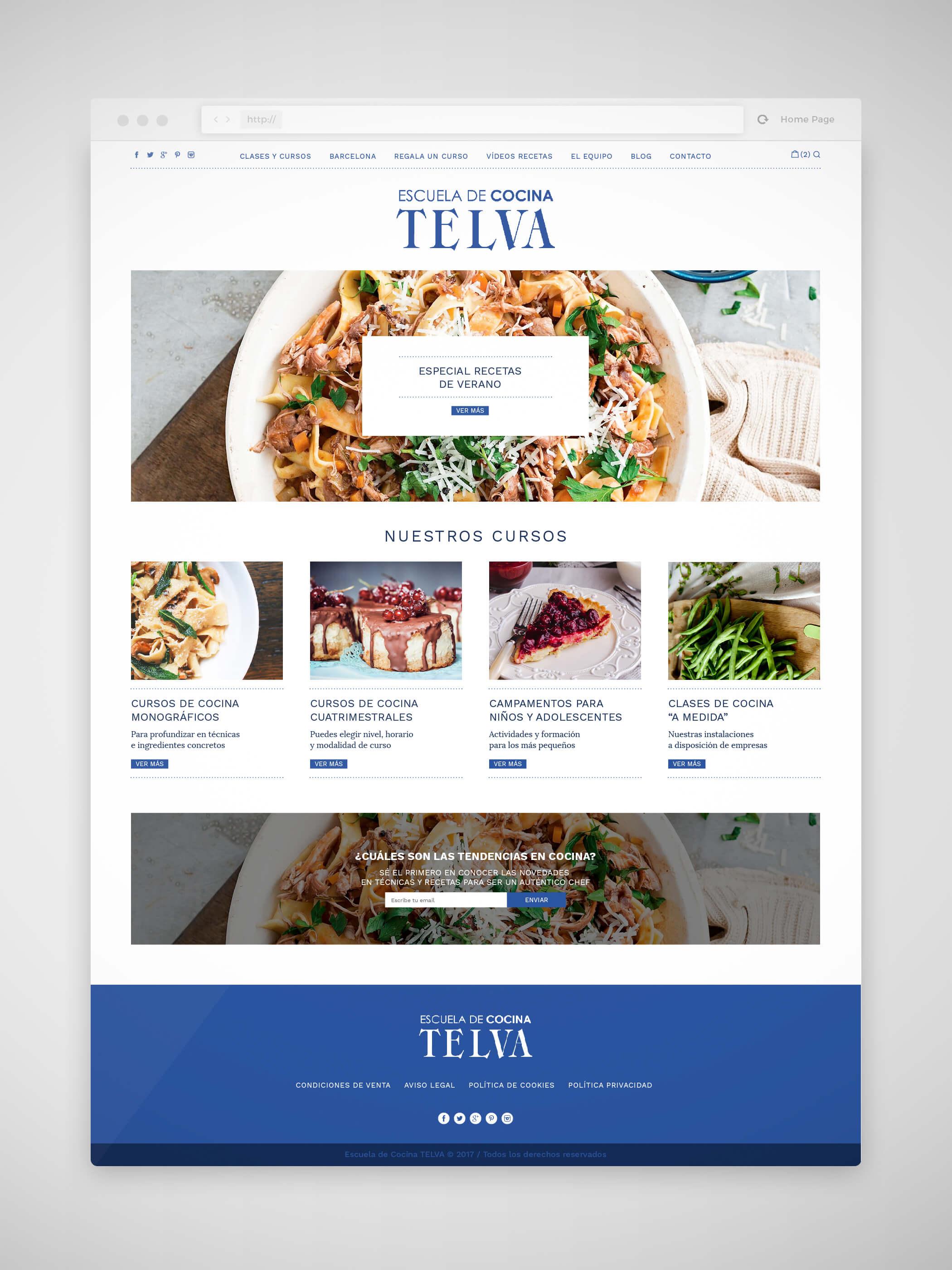 Diseño web Escuela de Cocina TELVA