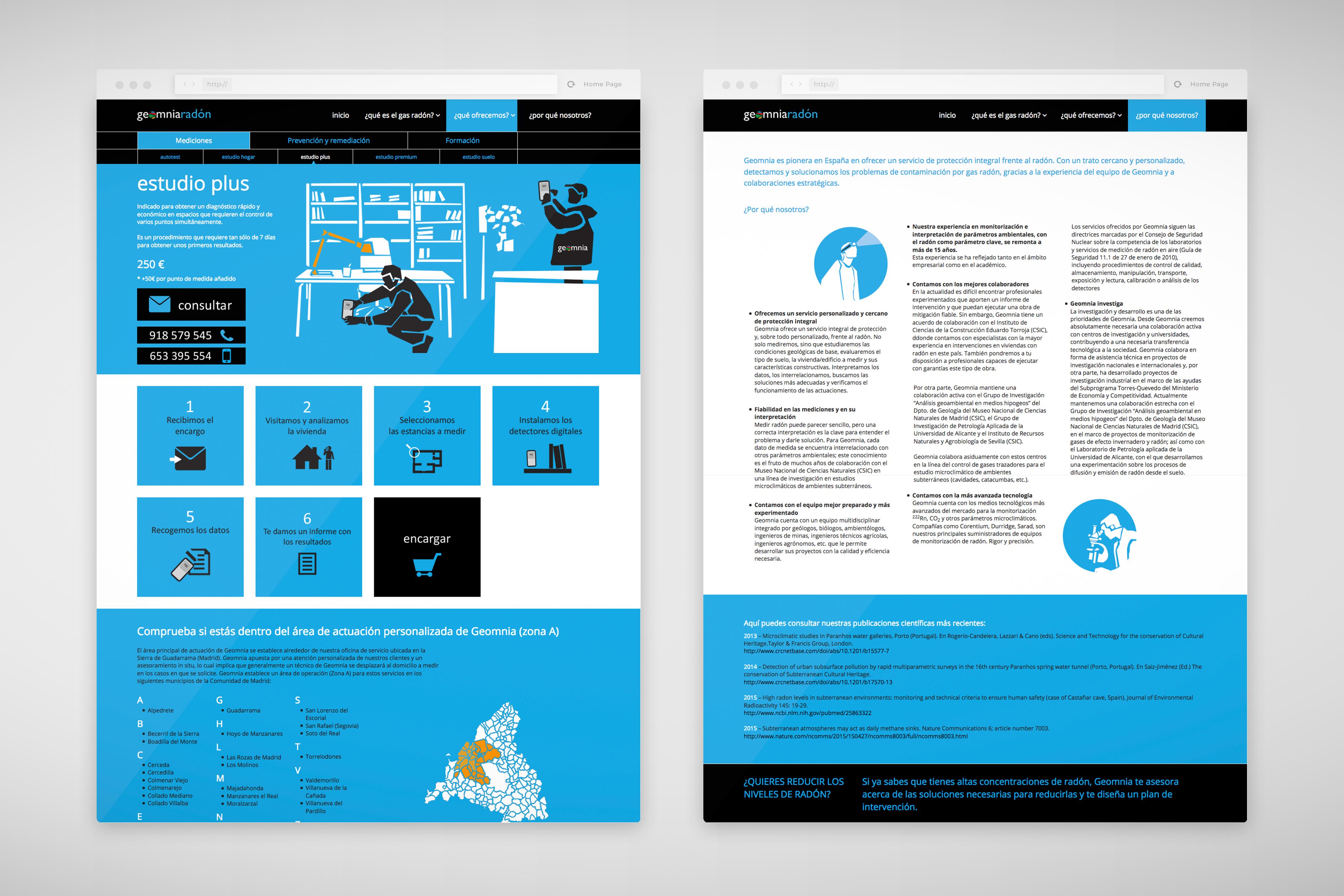 Diseño web Geomnia radón