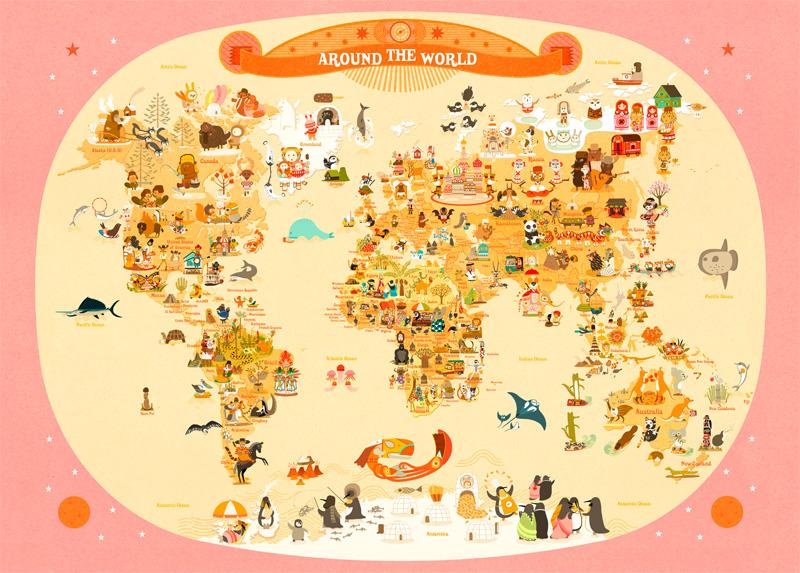 World map for kids, de Mercier Julie